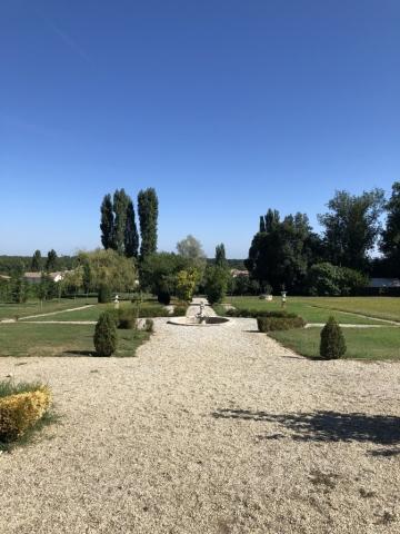 Green garden of the Château de Lantic