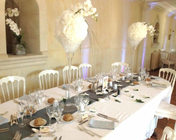 Table set up for a wedding reception