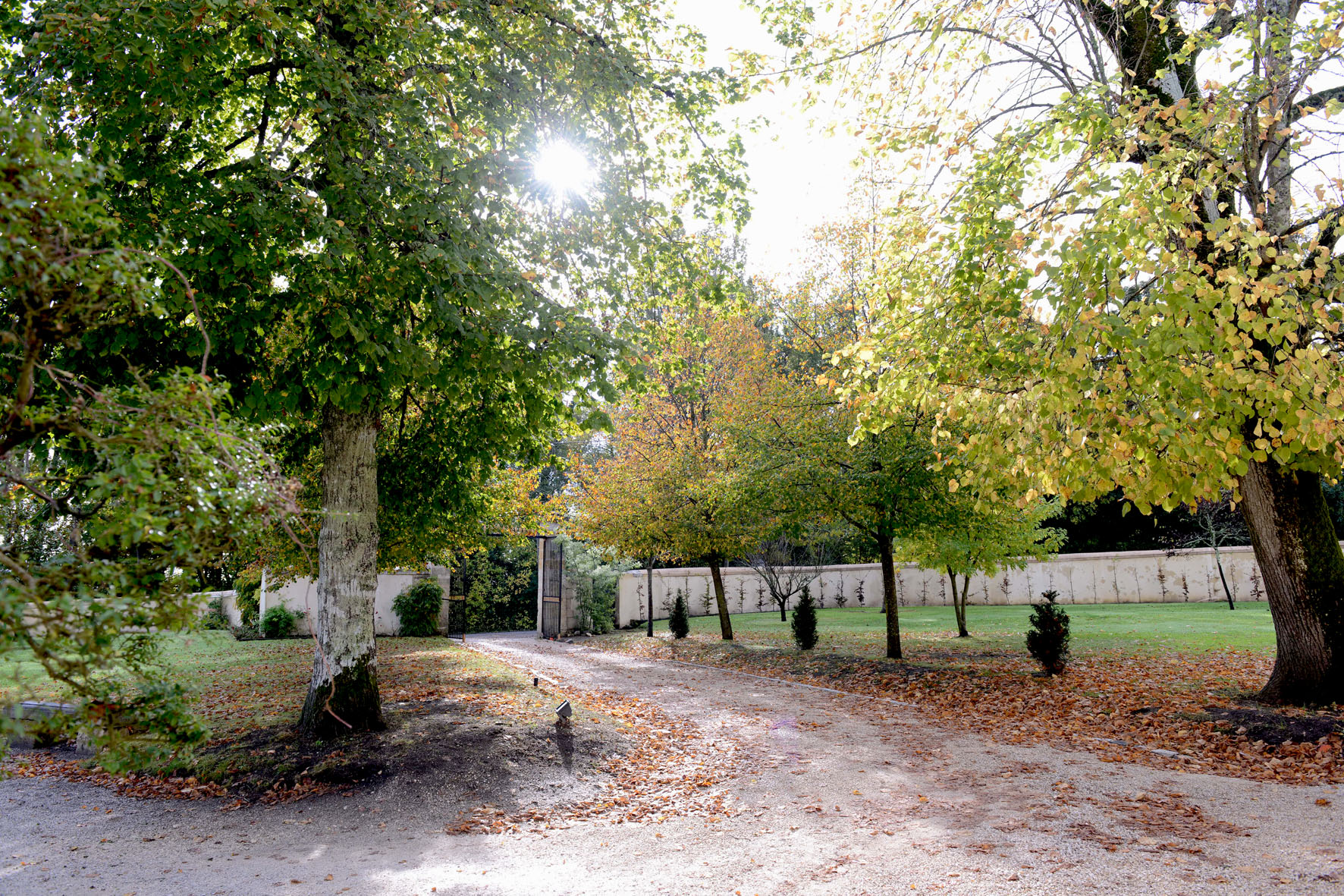 Entrance from the garden in the Château de Lantic