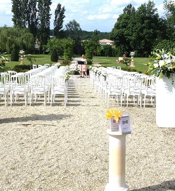 Célébration de mariage dans le parc du Château